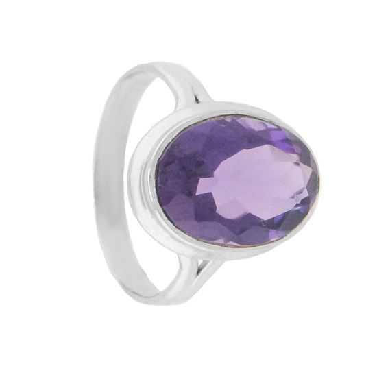 Hydrothermal Amethyst Rhodium plated Ring