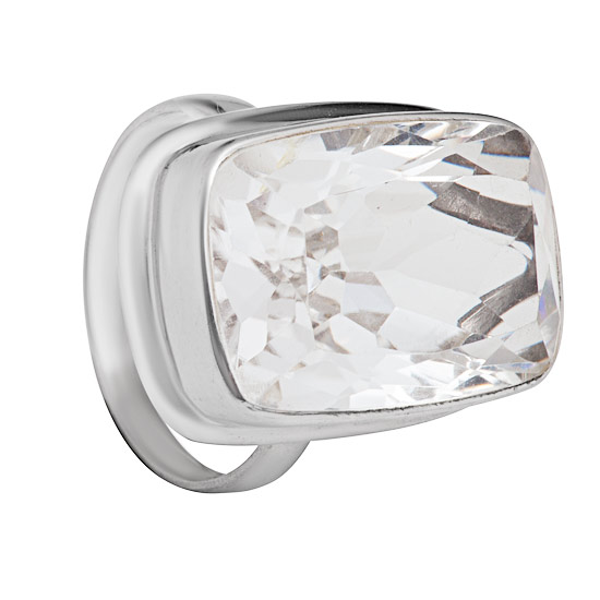 Rock Crystal Rhodium plated Ring