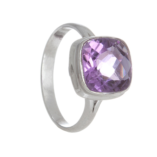 Amethyst Rhodium plated Ring