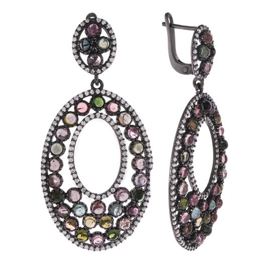 Tourmaline & CZ Earrings with Black Rhodium plating