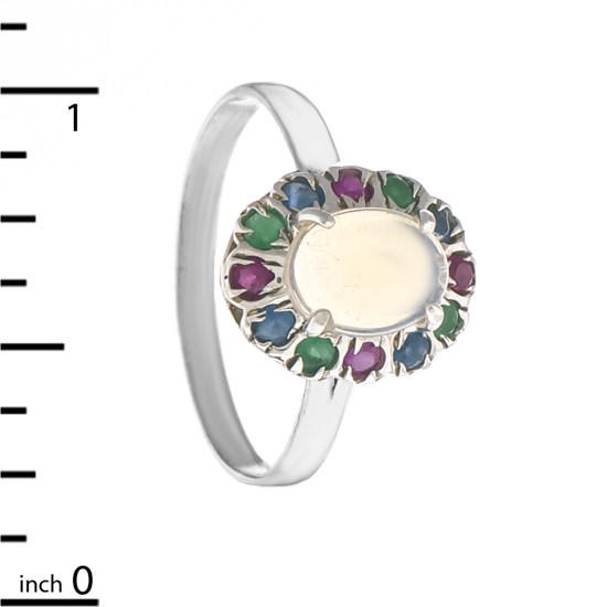 Opal & multicolored Corundum Ring
