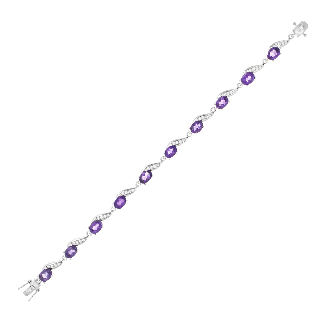 Amethyst & CZ Rhodium plated Bracelet 7.5 in