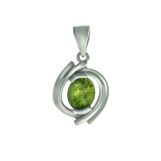 Peridot Pendant with Rhodium plating