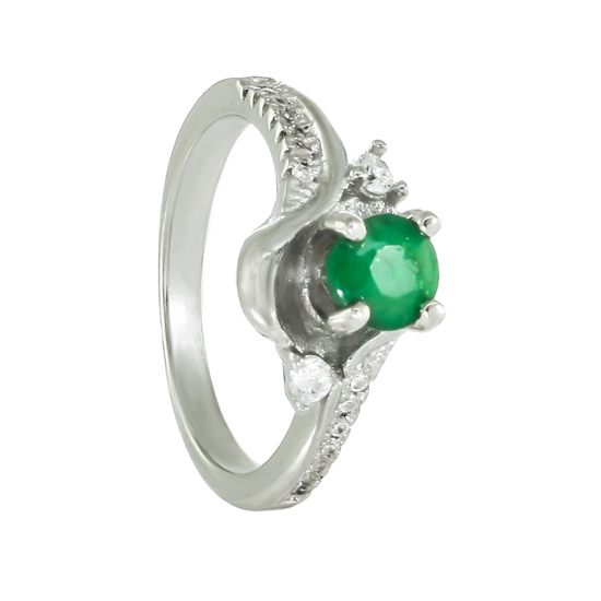 Emerald & CZ Rhodium plated Ring