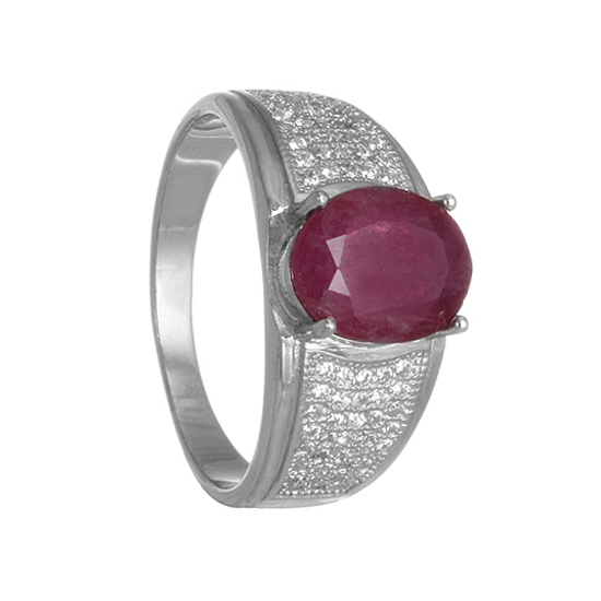 Ruby & CZ Sterling Silver Ring