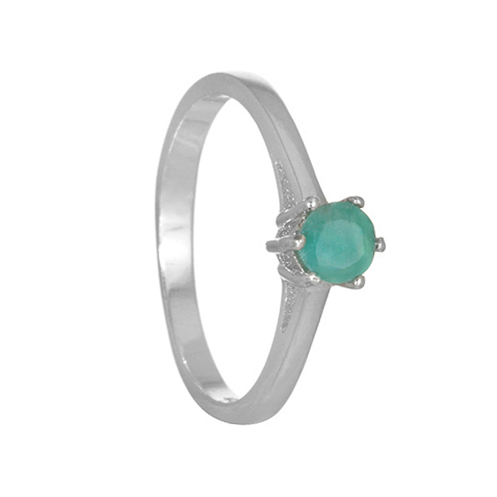Emerald Rhodium plated Ring