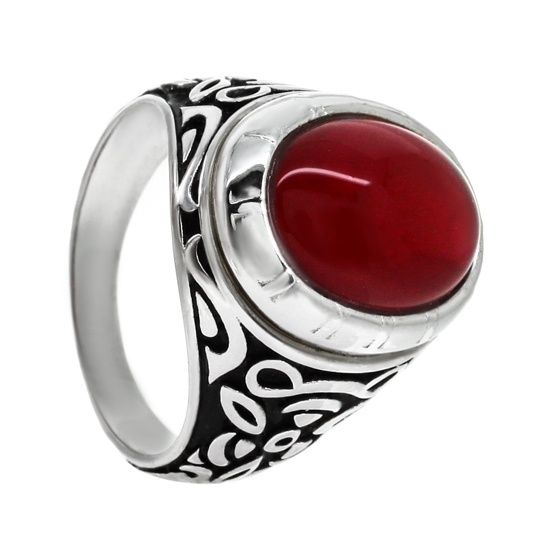 Red Onyx Sterling Silver Ring