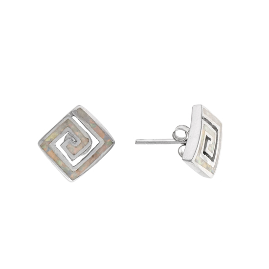White Opal Rhodium plated Studs