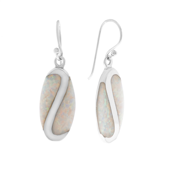 White Opal Rhodium plated Dangles