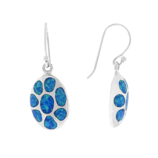 Blue Opal Rhodium plated Dangles