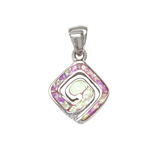 Pink Opal Pendant Rh plated