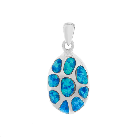 Blue Opal Rhodium plated Pendant