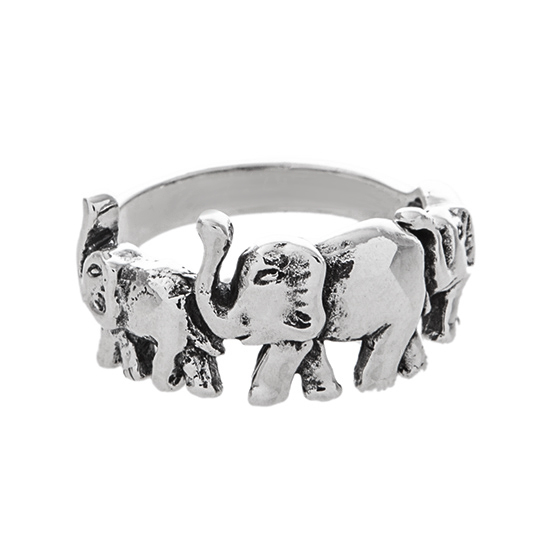 Elephants Sterling Silver Ring