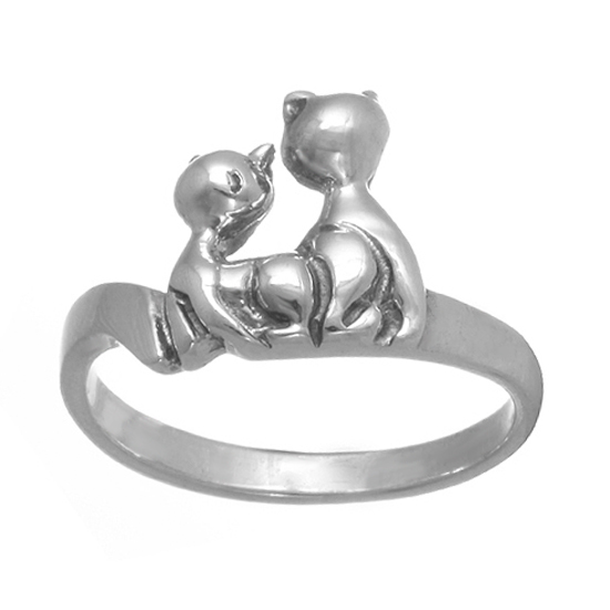 Sterling Silver Kitties Ring