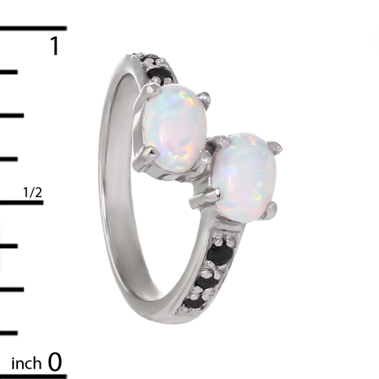 White Opal Ring Rhodium plated