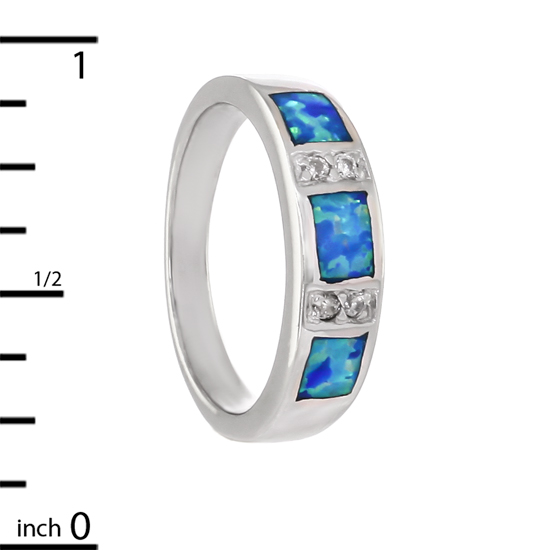 Blue Opal Ring with Rhodium plating