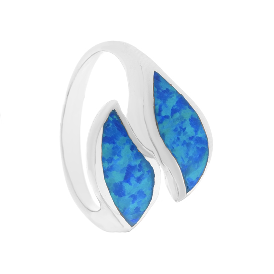 Blue Opal Leaves Rhodium plated Ring