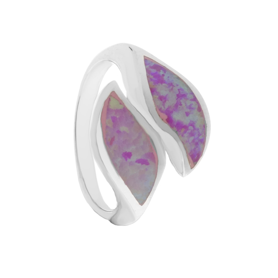 Pink Opal Leaves Rhodium plated Ring