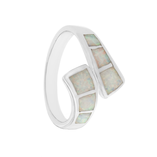 White Opal Rhodium plated Ring