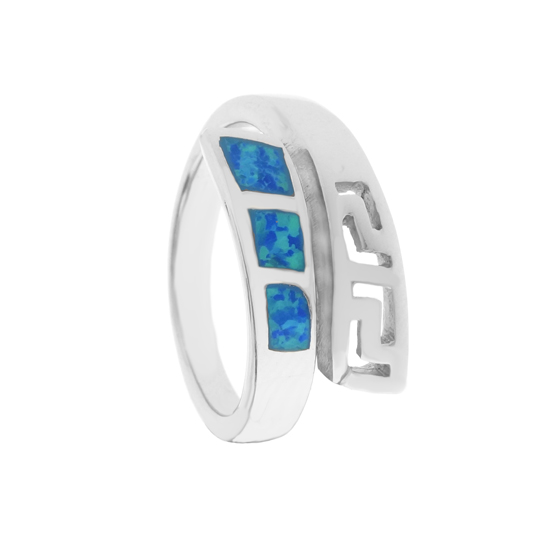 Blue Opal Rhodium plated Ring