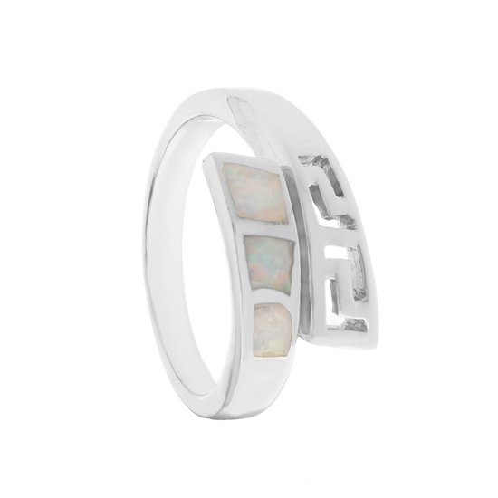 Opal Rhodium plated Ring