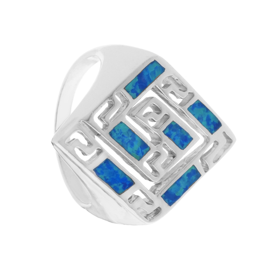 Blue Opal Maze Rhodium plated Ring