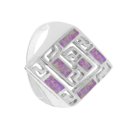 Pink Opal Maze Rhodium plated Ring