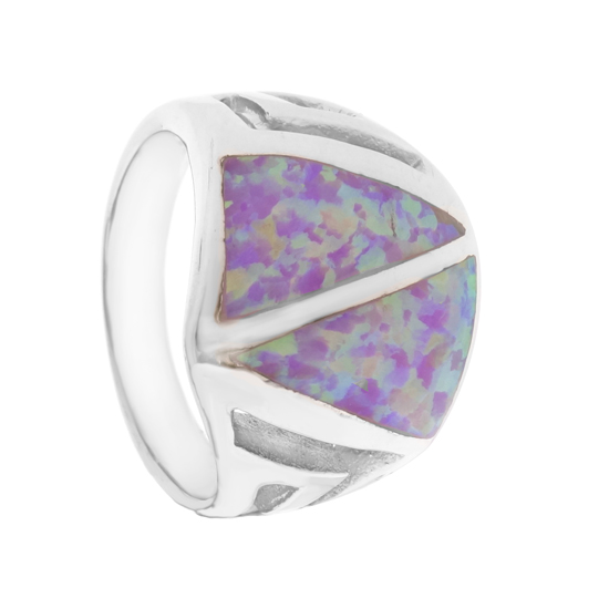 Pink Opal Rhodium plated Ring