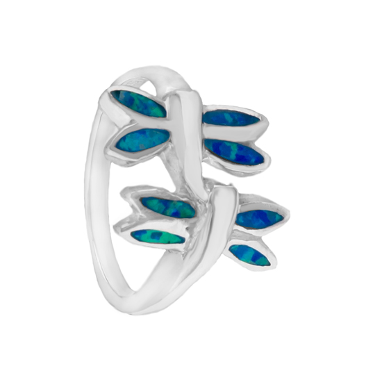 Blue Opal Dragonfly Rhodium plated Ring