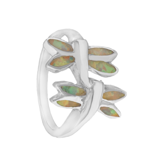 Opal Dragonfly Rhodium plated Ring