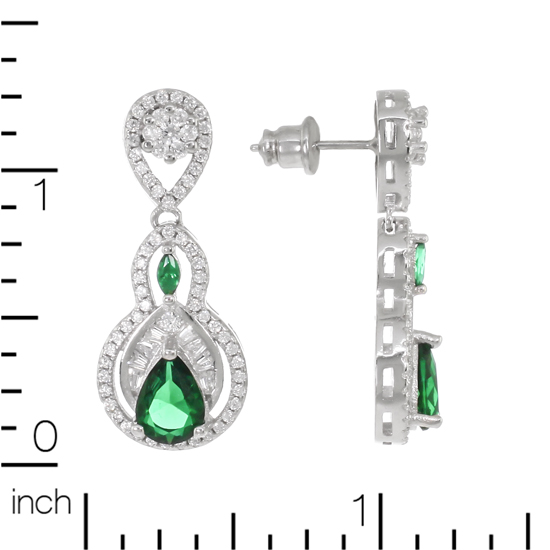 Green & White CZ Studs with Rh plating