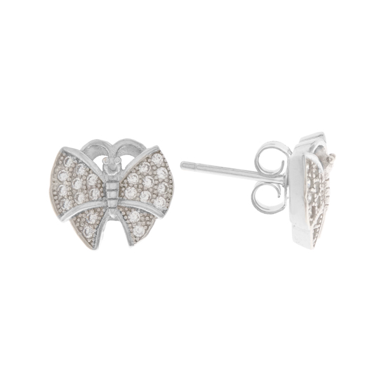 White CZ Butterfly Rhodium plated Studs