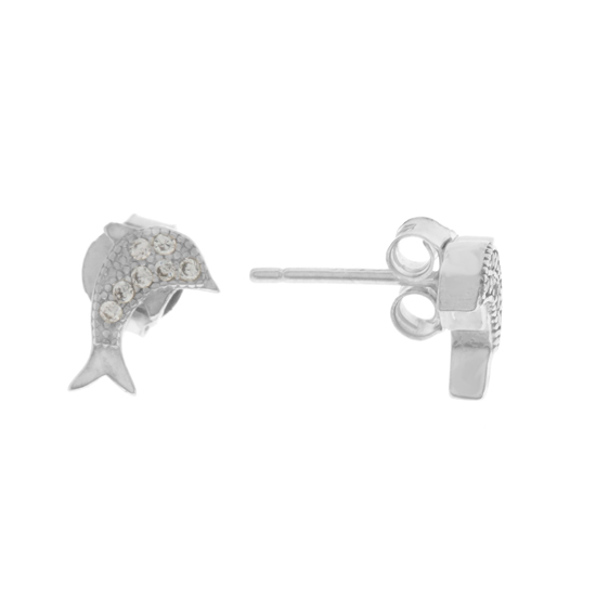 White CZ Dolphin Rhodium plated Studs