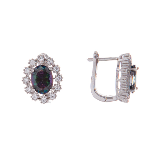Mystic Topaz & CZ Earrings