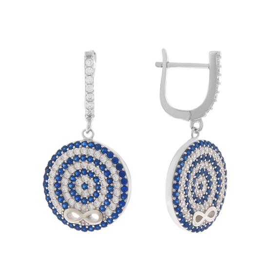 Blue & White CZ Infinity Earrings