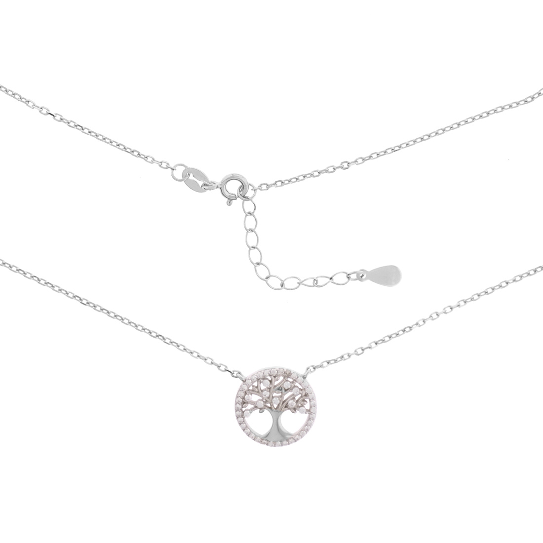 White CZ Tree Necklace 17 in