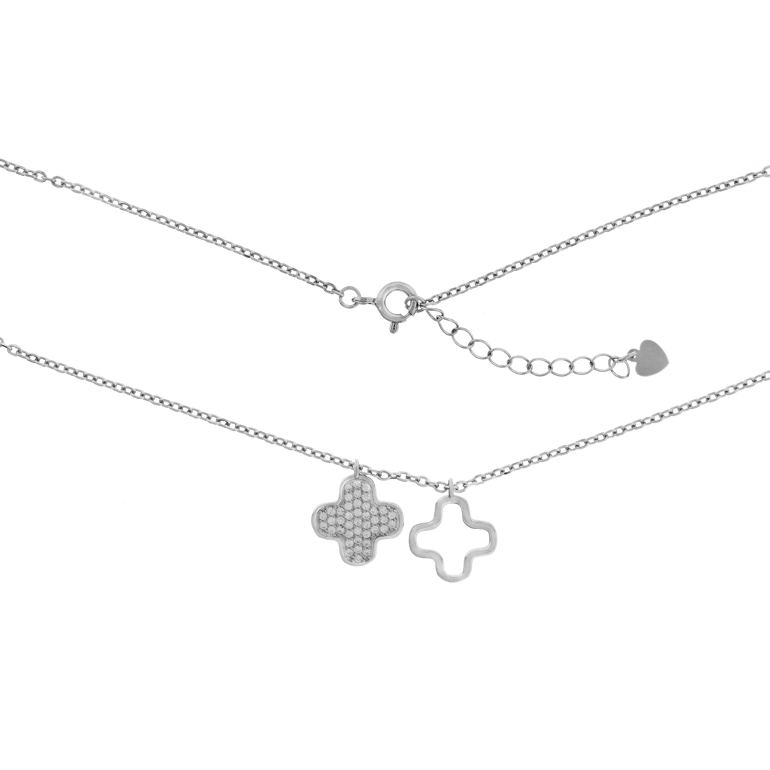Clover Necklace with white CZ 17.5-18 in