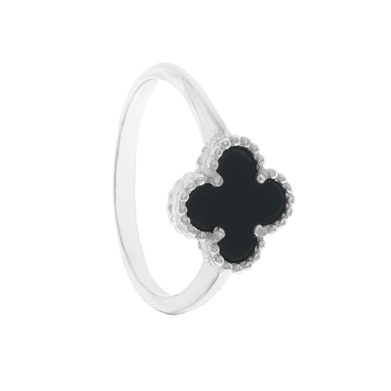 Black Onyx Clover Ring