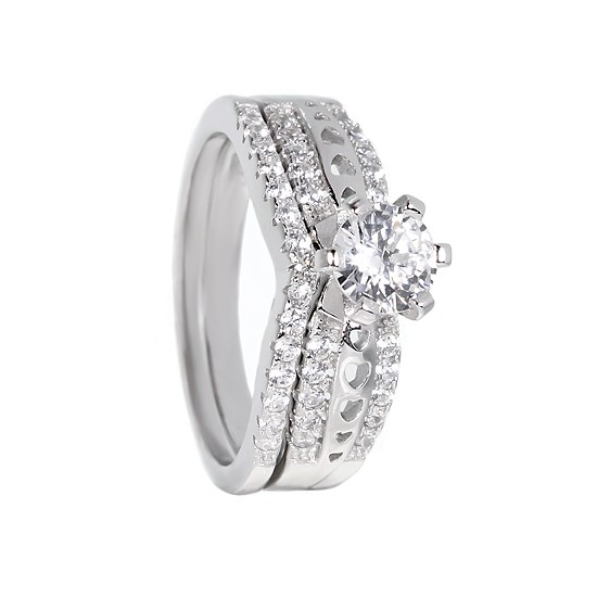 White Hearts CZ Rhodium plated Ring