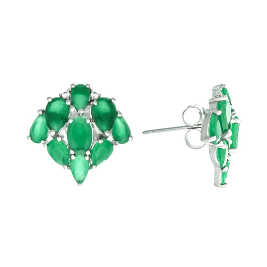 Green CZ Studs Rh plated