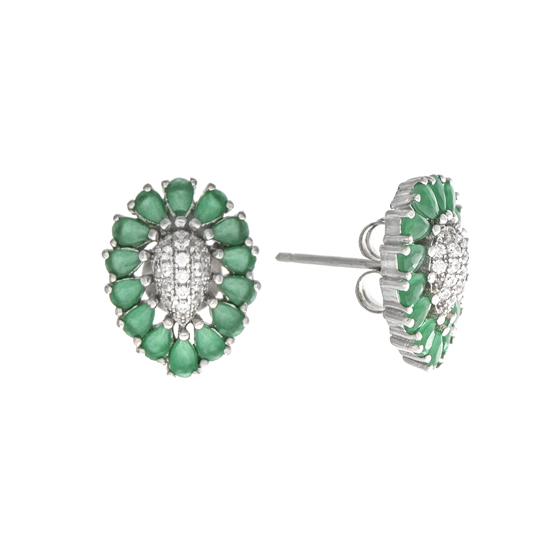 Green & White CZ Studs Rh plated