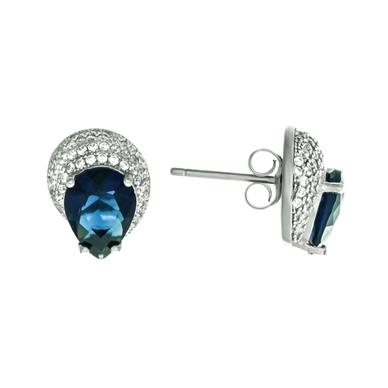 Navy Blue & White CZ Studs Rh plated