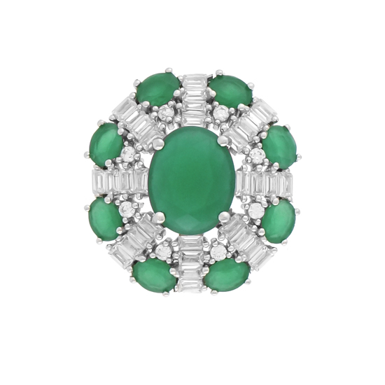 Green & White CZ Rhodium plated Pendant