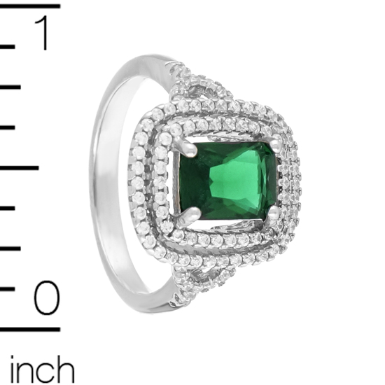 Green & White CZ Rhodium plated Ring