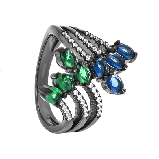 Blue & Green CZ Ring with Black Rhodium plating