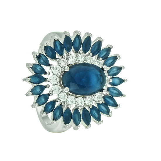 Dark Blue & White CZ Rhodium plated Ring
