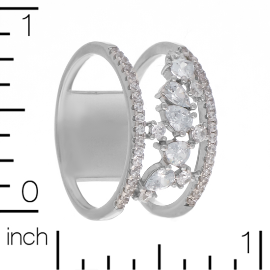 White CZ Rhodium plated Ring