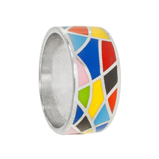 Sterling Silver Bright Enamel Ring