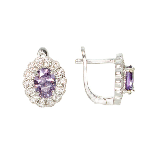 Purple CZ Rhodium plated Earrings