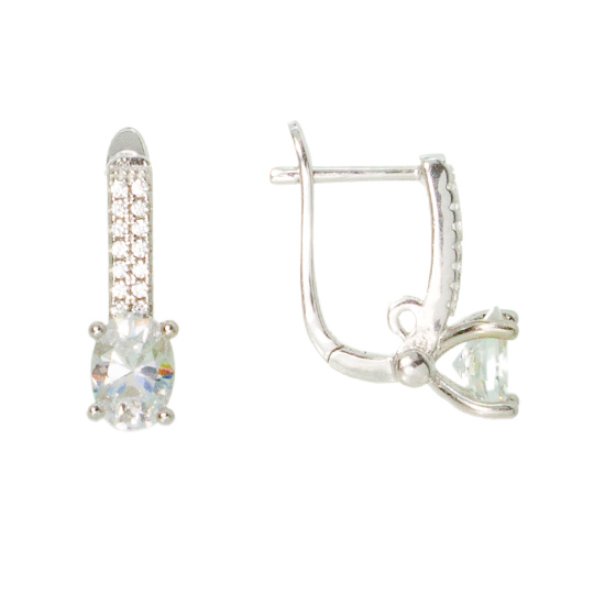 Bride to be CZ Rhodium plated Earrings